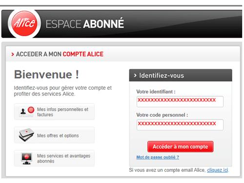 Espace abonné alice.fr
