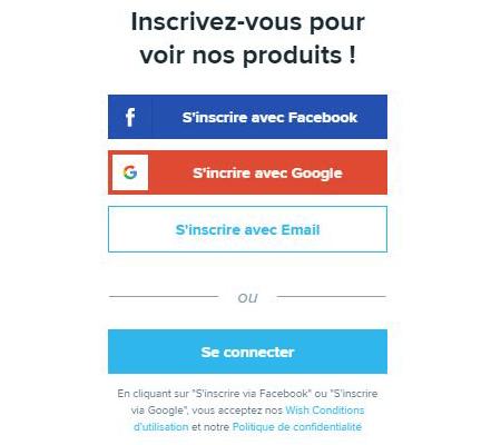 Créer un compte wish en français