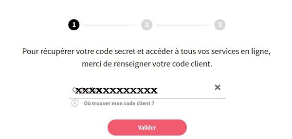 Réinitialiser mon code secret SG