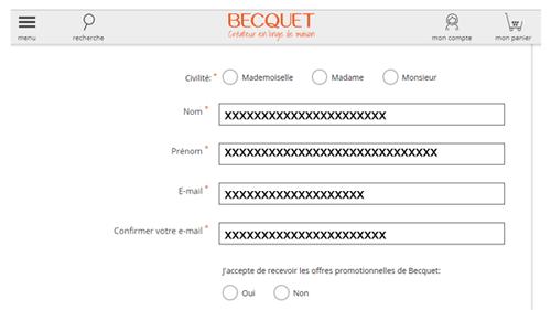 Créer un compte Becquet