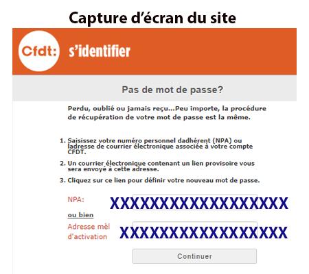 Problème de connexion www.cfdt.fr adherents