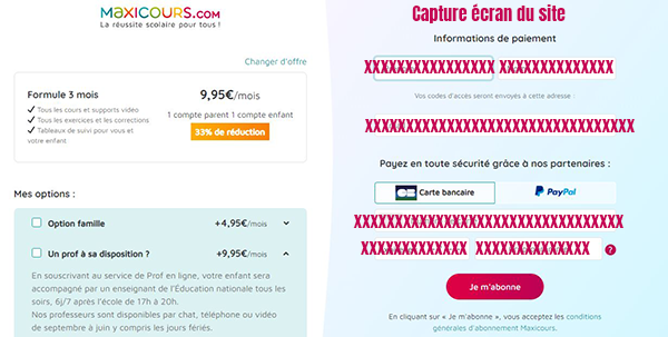 inscription formule abonnement maxicours en ligne