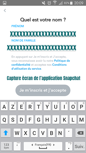 inscription snapchat